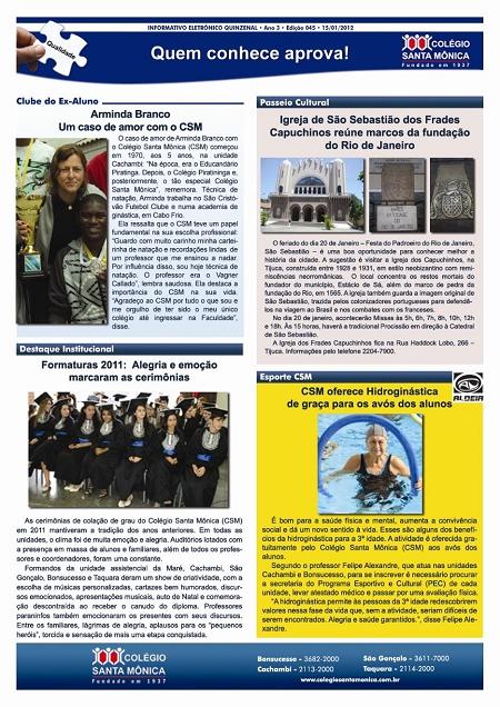 Boletim Eletrônico – Ano 3 | Edição 045 – 15/01/2012