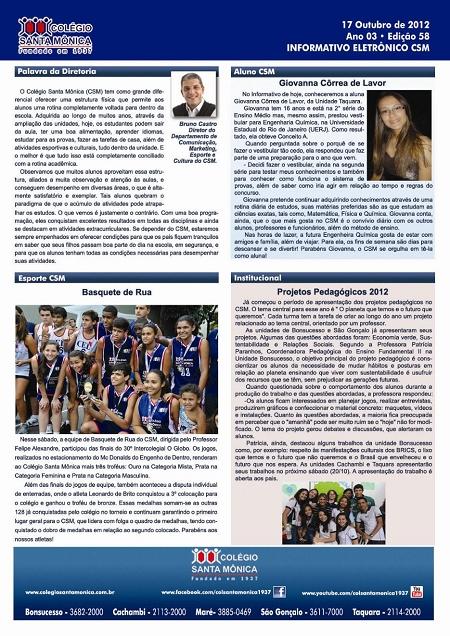 Boletim Eletrônico – Ano 3 | Edição 058 – 17/10/2012