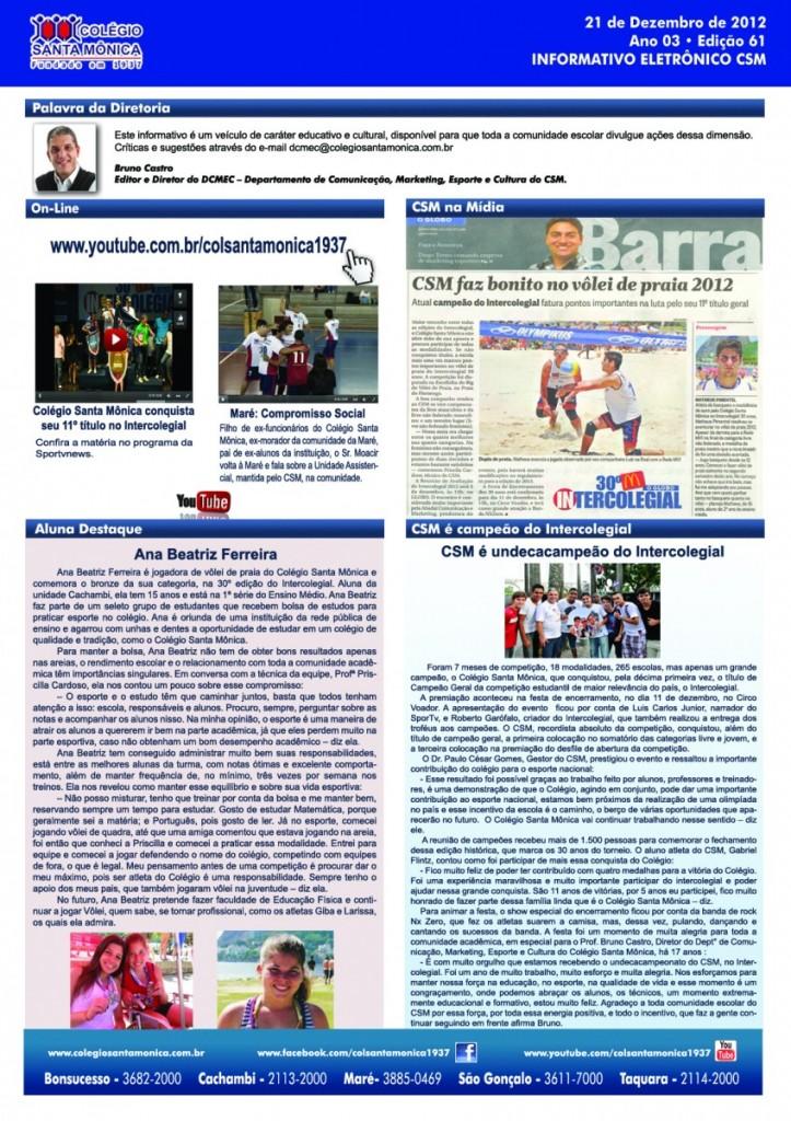 Boletim Eletrônico – Ano 3 | Edição 061 – 21/12/2012