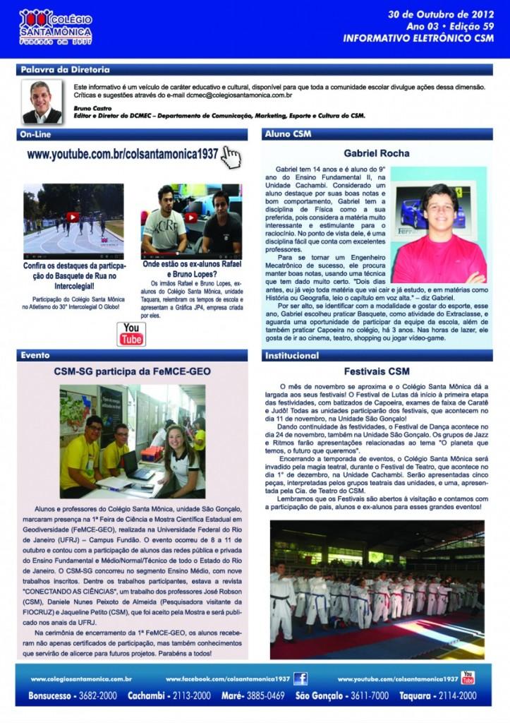 Boletim Eletrônico – Ano 3 | Edição 059 – 30/10/2012