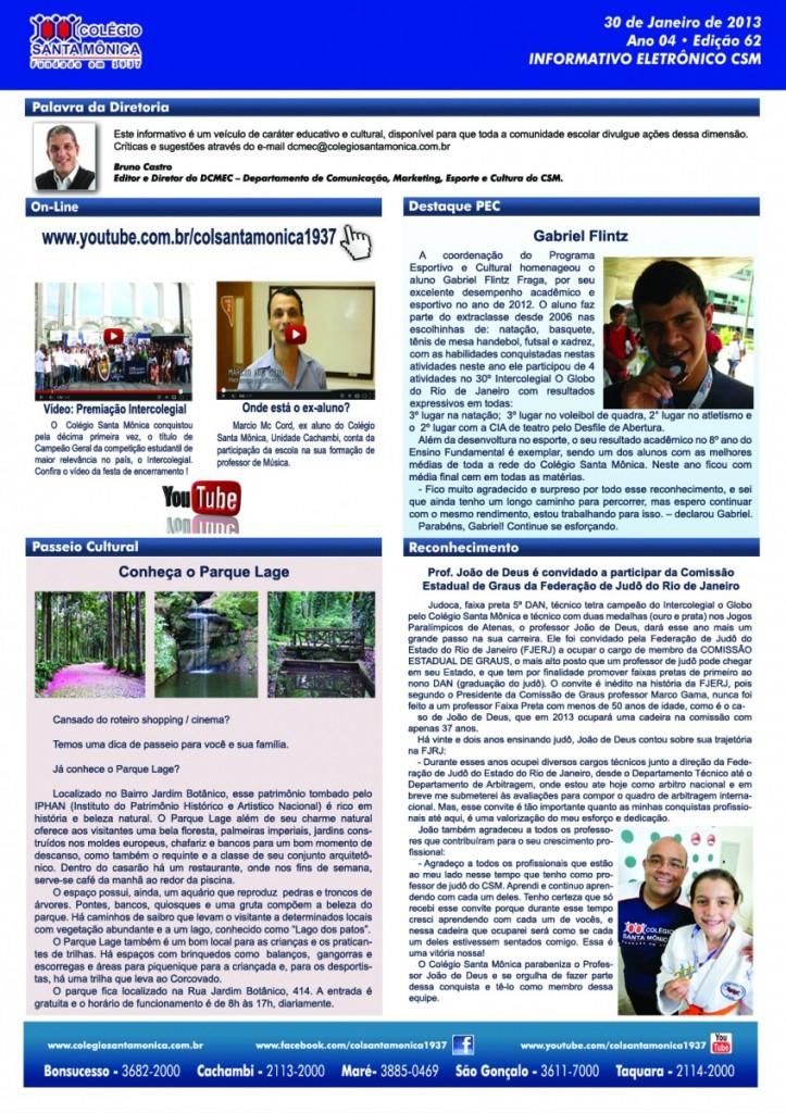 Boletim Eletrônico – Ano 4 | Edição 062 – 30/01/2013
