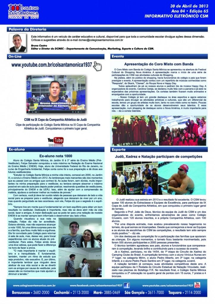 Boletim Eletrônico – Ano 4 | Edição 065 – 30/04/2013