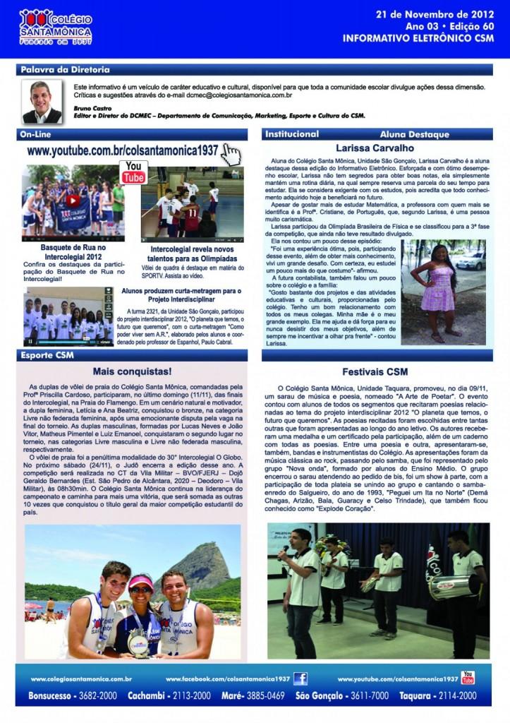 Boletim Eletrônico – Ano 3 | Edição 060 – 21/11/2012