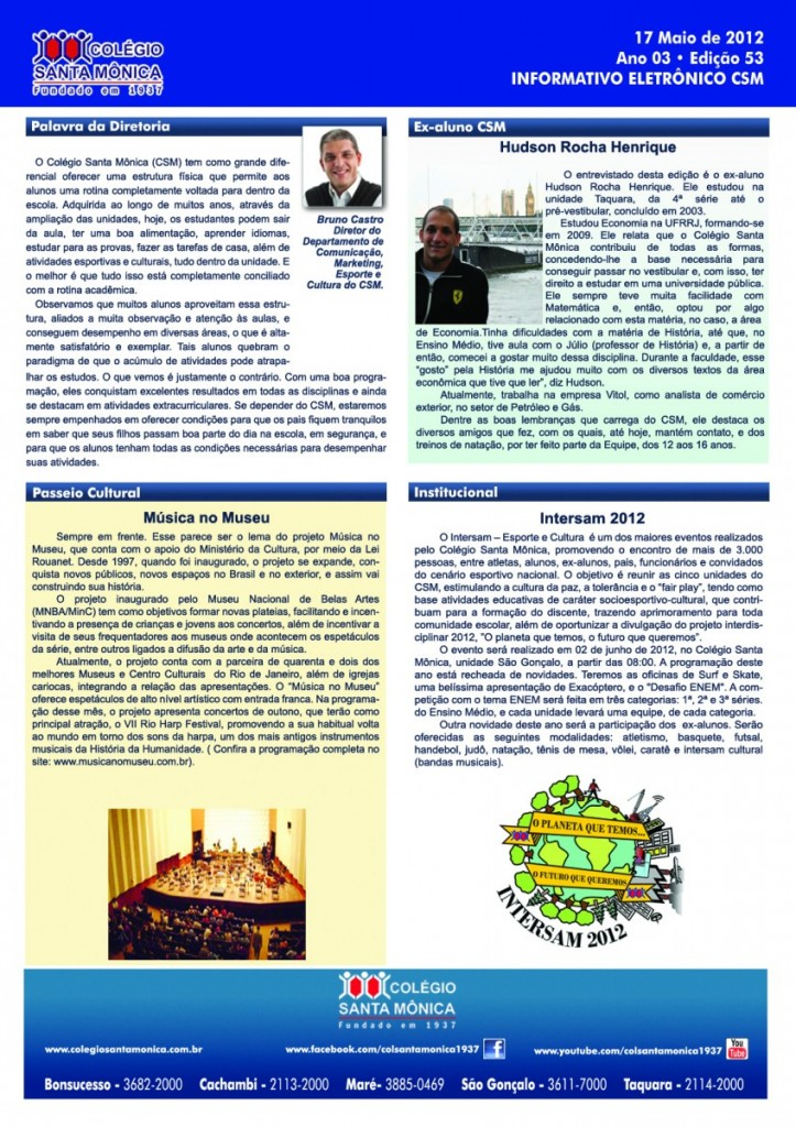 Boletim Eletrônico – Ano 3 | Edição 053 – 17/05/2012