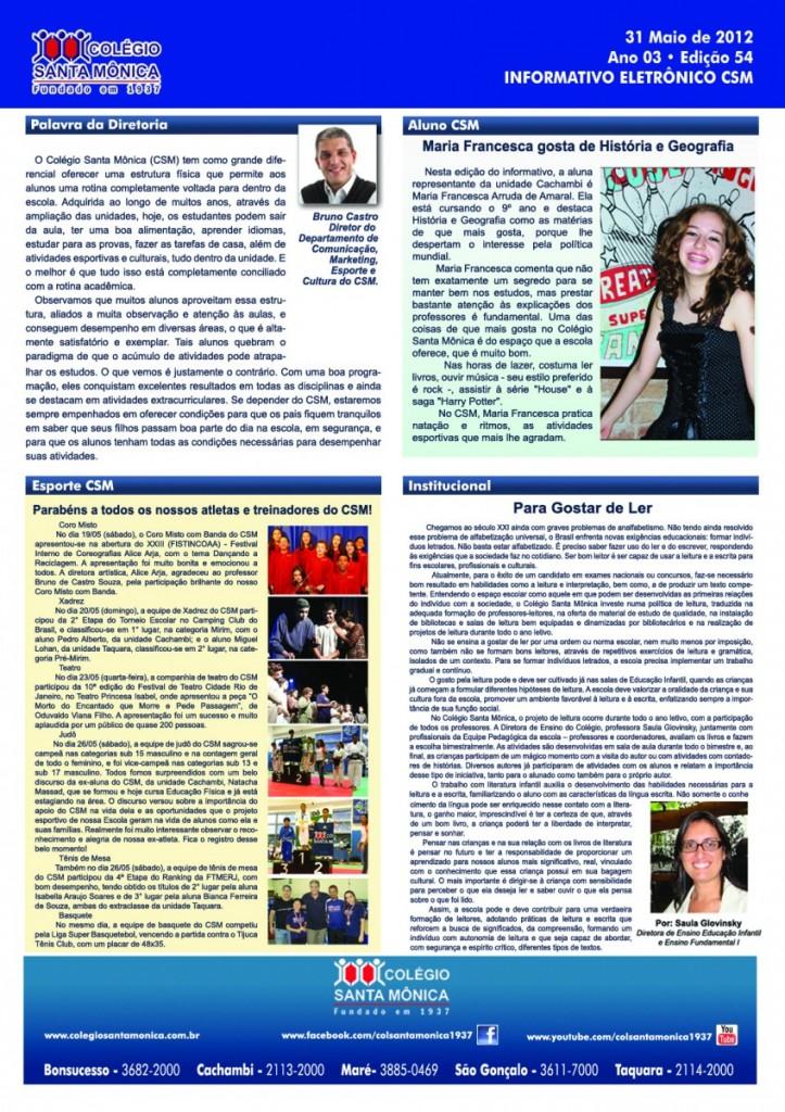 Boletim Eletrônico – Ano 3 | Edição 054 – 31/05/2012