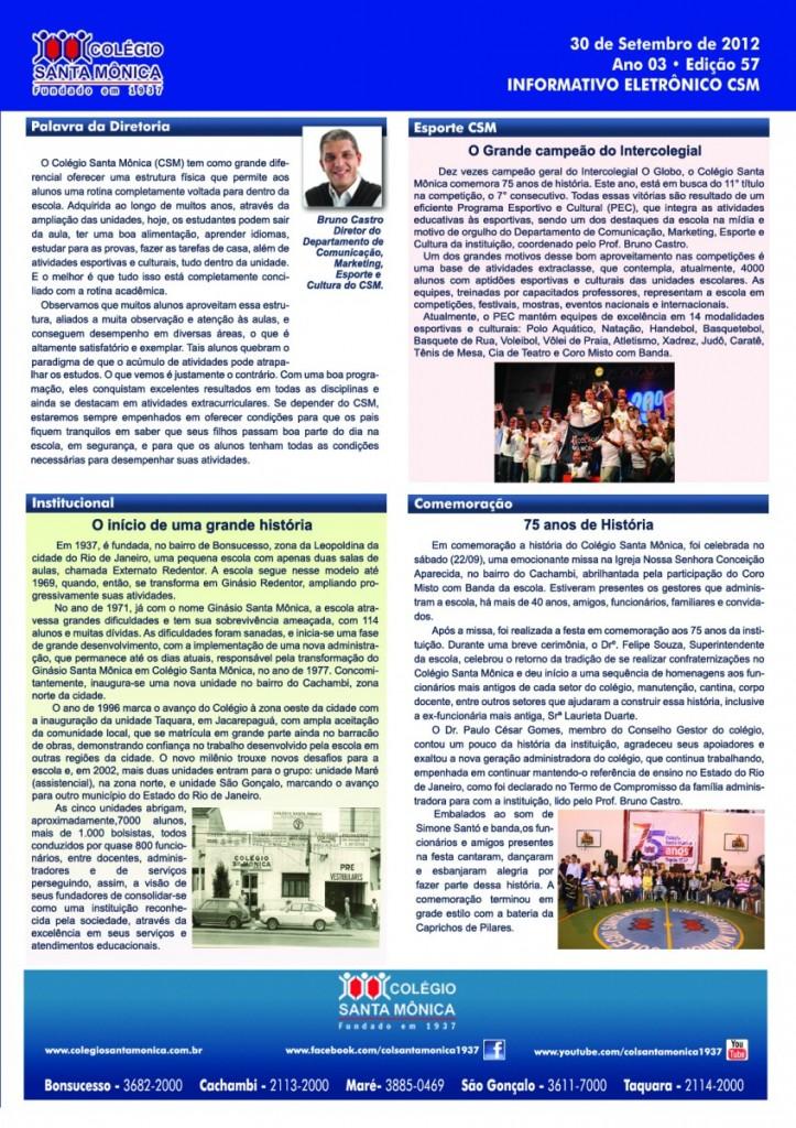 Boletim Eletrônico – Ano 3 | Edição 057 – 30/09/2012
