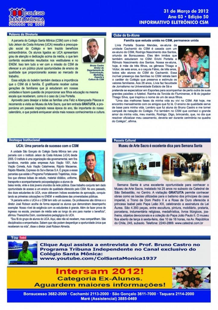 Boletim Eletrônico – Ano 3 | Edição 050 – 31/03/2012