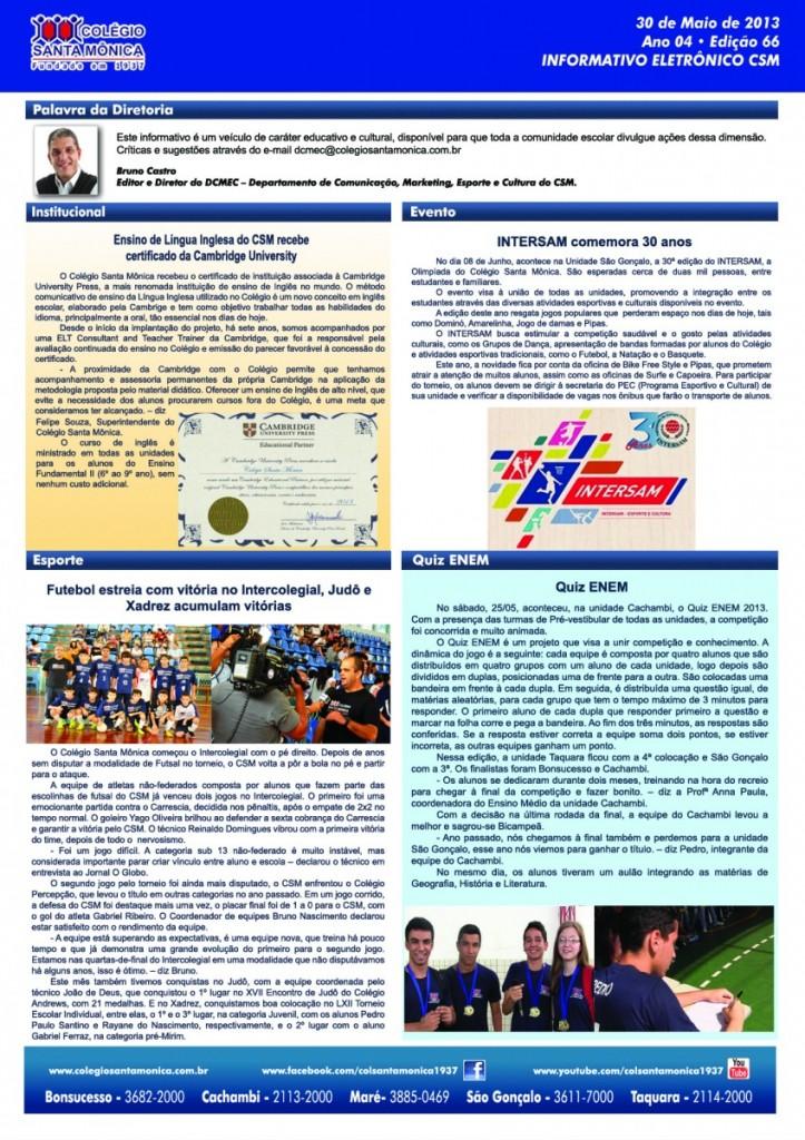 Boletim Eletrônico – Ano 4 | Edição 066 – 30/05/2013