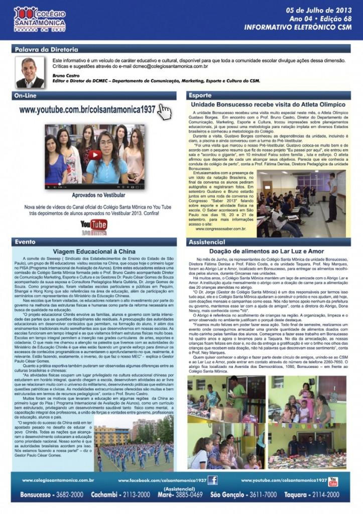 Boletim Eletrônico – Ano 4 | Edição 068 – 05/07/2013