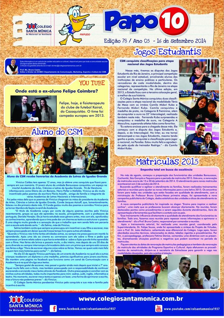 Boletim Eletrônico – Ano 5 | Edição 078 – 16/09/2014