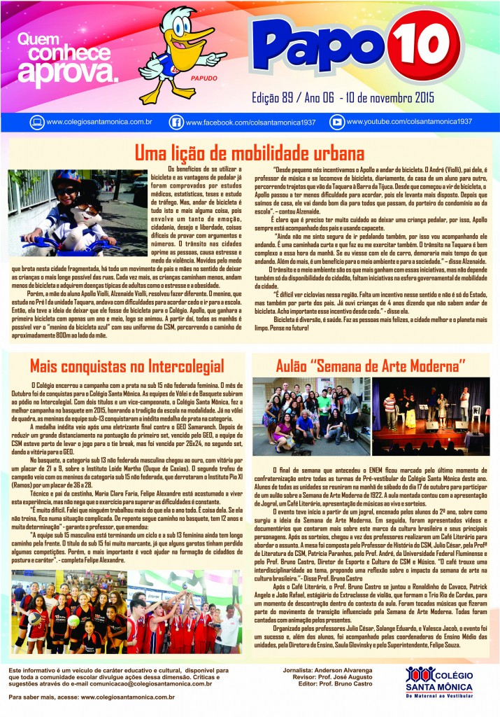 Boletim Eletrônico – Ano 6 | Edição 089 – 10/11/2015