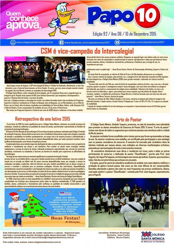 Boletim Eletrônico – Ano 06 | Edição 92 – 10/12/2015