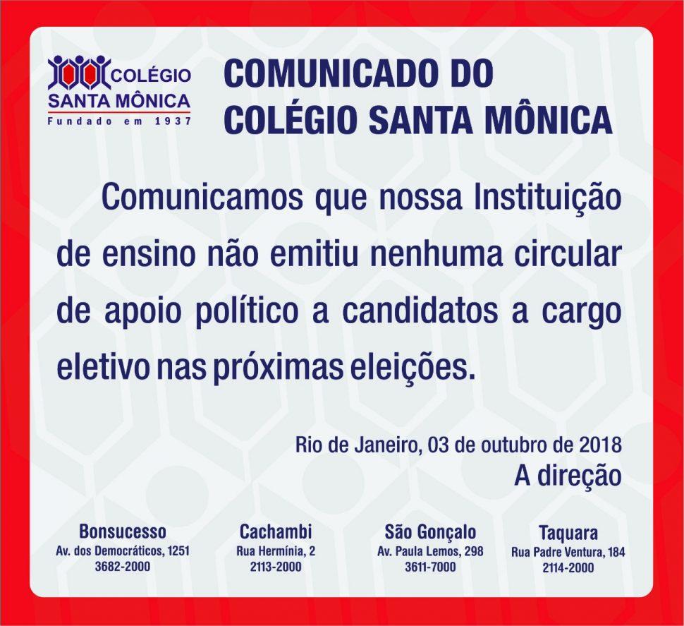 COLÉGIO SANTA MÔNICA – COMUNICADO – CACHAMBI